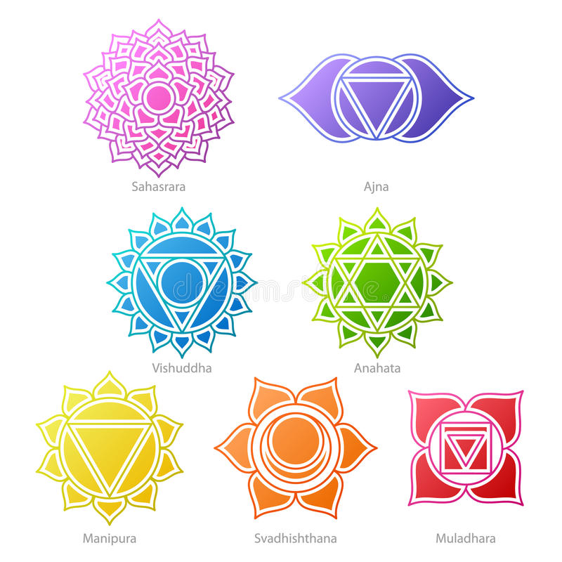 Colorful chakras symbols icons set. Spiritual meditation elements vector illustration royalty free illustration