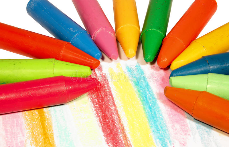 Colorful chalk. On white paper.closeup stock images