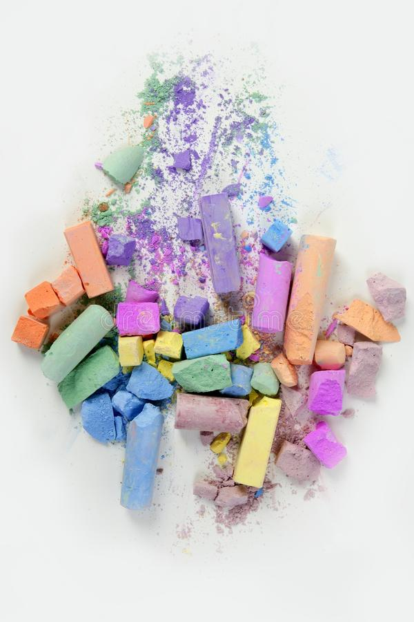 Download Colorful Chalk Broken Colors Mess Over White Stock Image - Image: 12865177