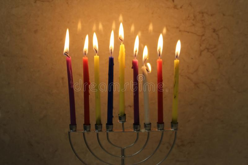 Download Colorful Chanukah Candles Lit In The Menorah, Candle Light Stock  Photo   Image: