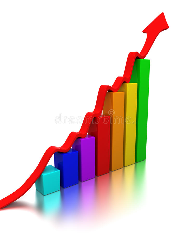 Colorful chart. With arrow going up vector illustration