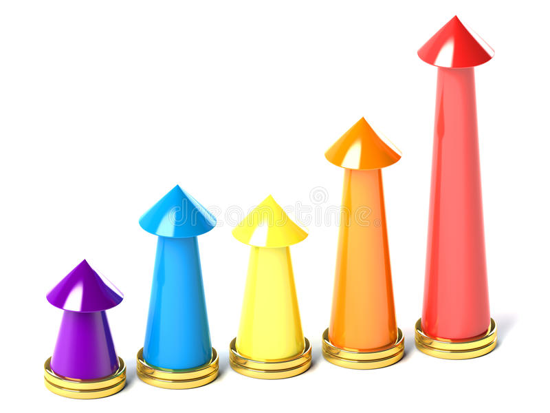 Colorful Chart With Arrowhead Royalty Free Stock Images