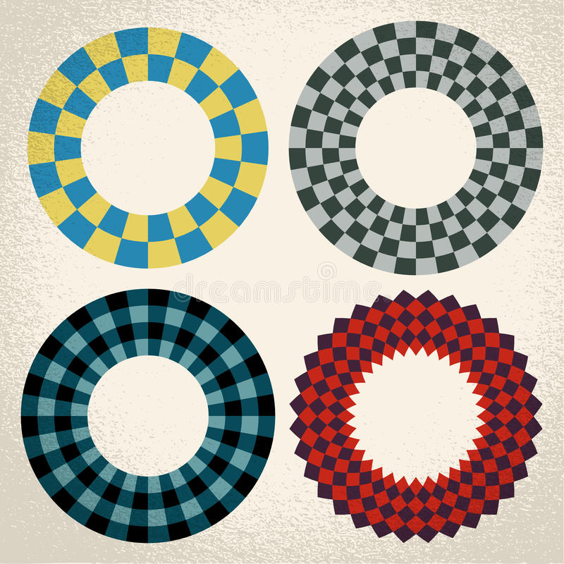 Colorful checkered circle frame background. Vector: colorful checkered circle frame background with center for copy space vector illustration