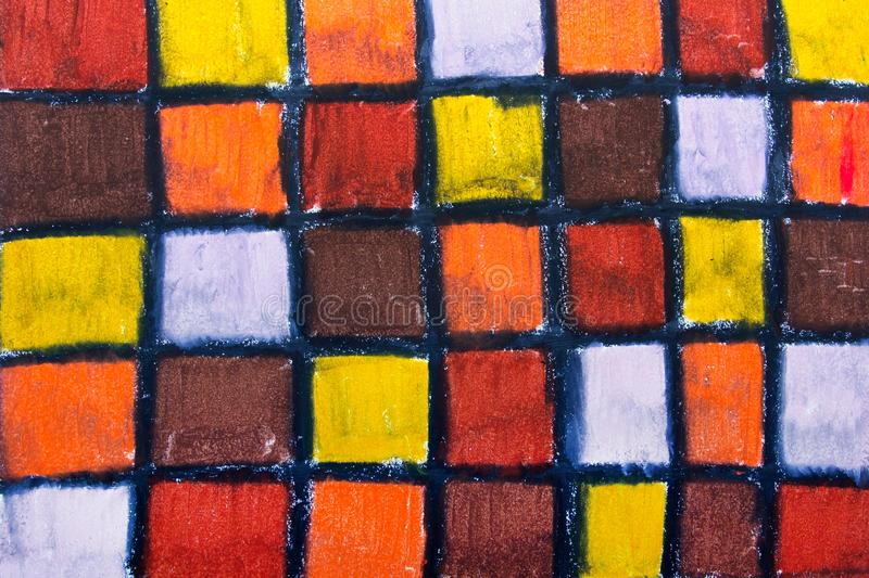 Oil pastels drawing with squares royalty free stock images