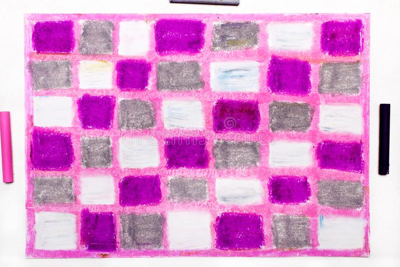 Oil pastels drawing with squares royalty free stock photography