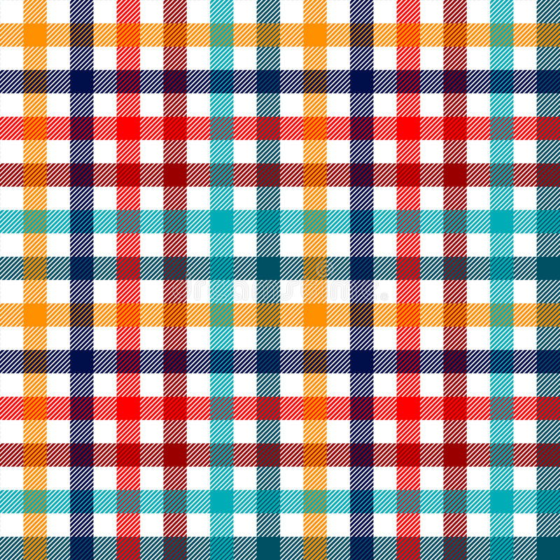 Colorful checkered gingham plaid fabric seamless pattern in blue white red and yellow, print stock illustration