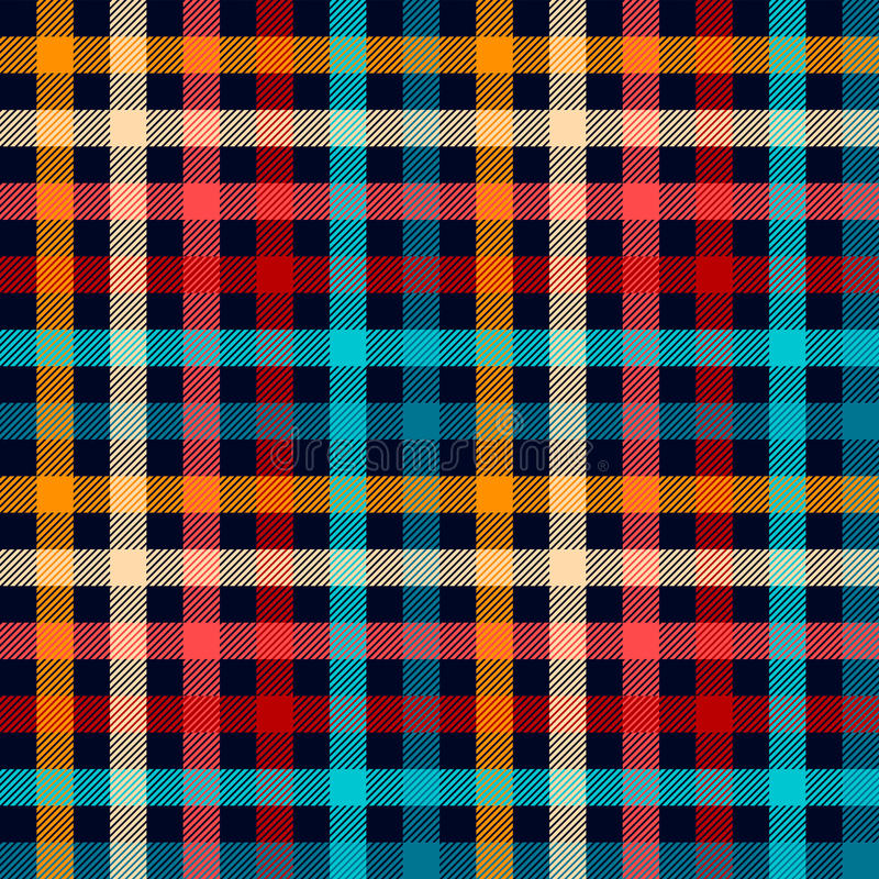Free Colorful Checkered Gingham Plaid Fabric Seamless Pattern In Blue White Red And Yellow, Vector Print Stock Images - 59918664