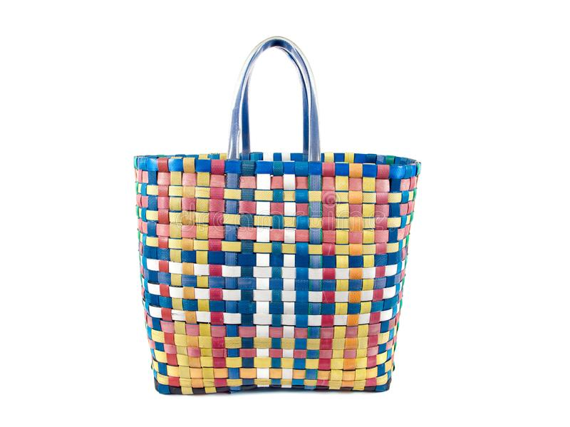 Colorful checkered nylon bag isolated on white background. Texture royalty free stock image