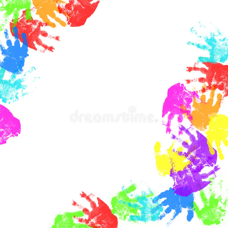Colorful child hand prints royalty free illustration
