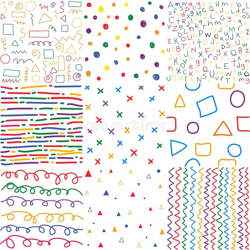 Colorful children hand drawn seamless patterns. stock illustration