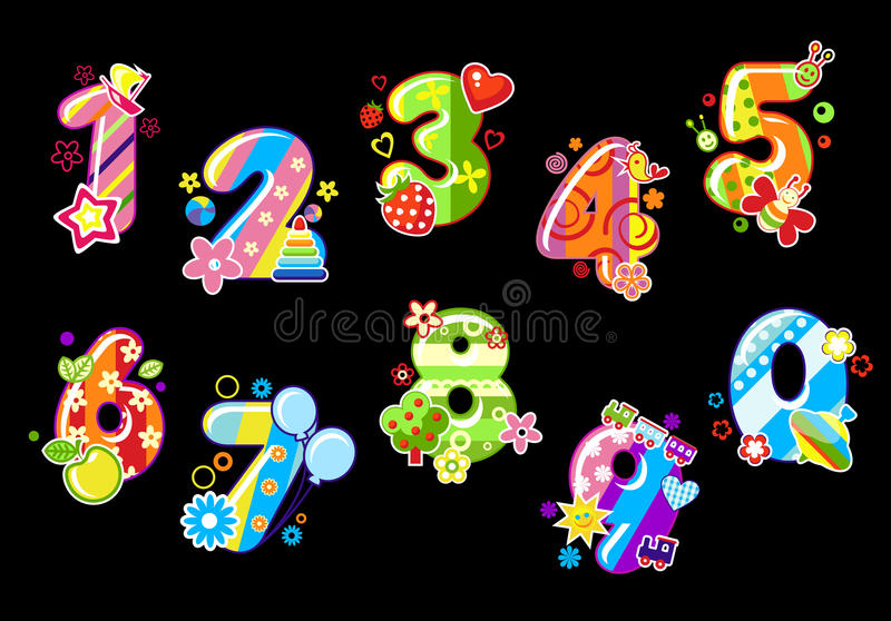 Colorful children numbers stock illustration