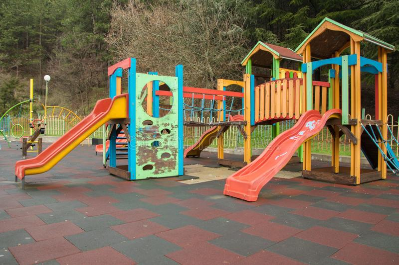 Colorful children playground in the green area royalty free stock photography