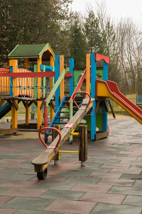 Colorful children playground in the green area royalty free stock images