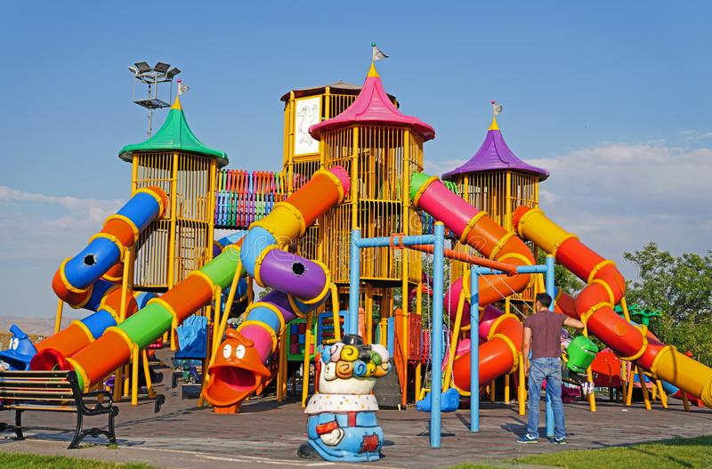 Colorful children playground at public park in Ankara, Turkey. royalty free stock photos