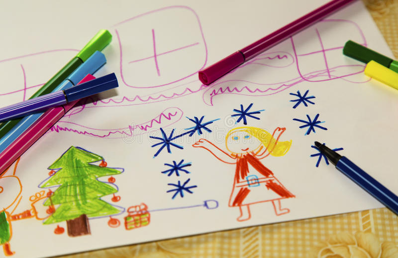 Colorful children`s drawing royalty free stock photos
