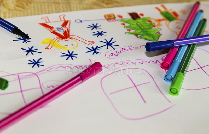 Colorful children`s drawing royalty free stock photography