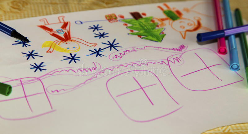 Colorful children`s drawing stock photography