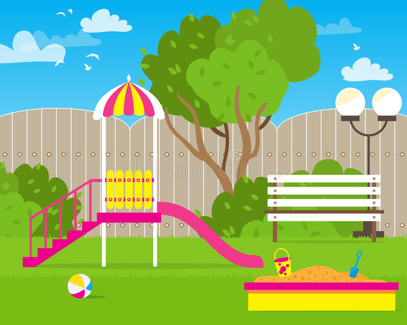 Colorful Children's playground with Swings. Slide, sandbox, bench, teeter board. Kids playground. School Children's park. Buildings for city construction stock illustration