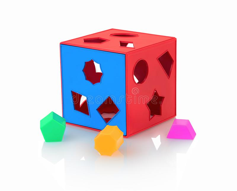 Colorful children`s toy shape sorter isolated on white background with shadow reflection. The cubed shape sorter. royalty free stock photo