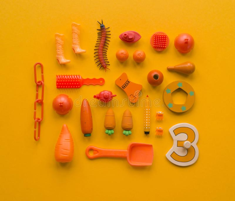 Colorful children`s toys on a bright background. royalty free stock photo
