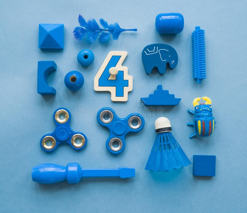 Colorful children`s toys on a bright background. royalty free stock photos