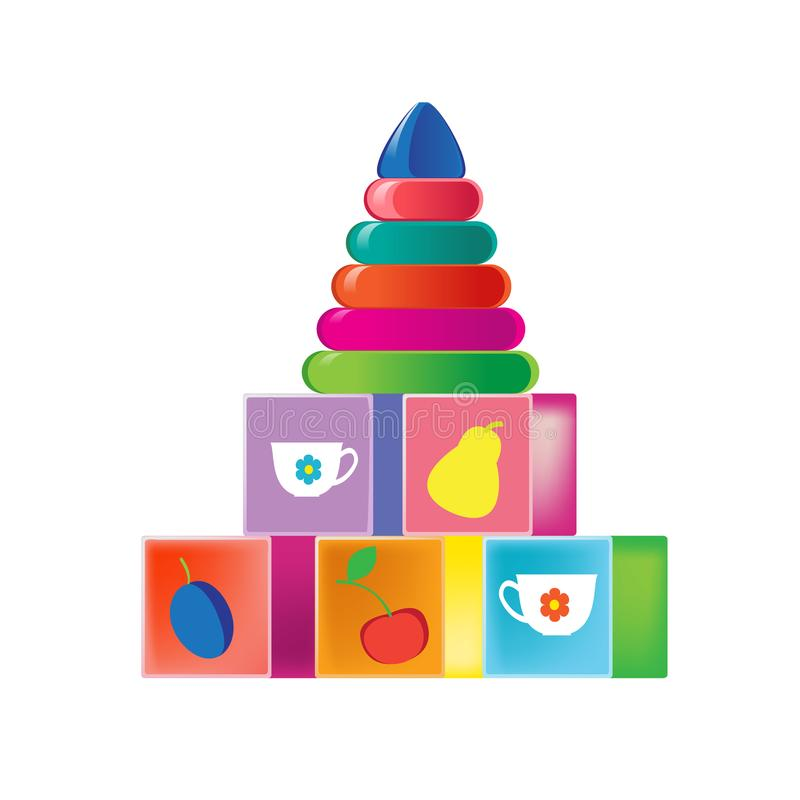 Colorful children`s toys. Children`s developing cubes with illustrations, colored pyramid. royalty free illustration
