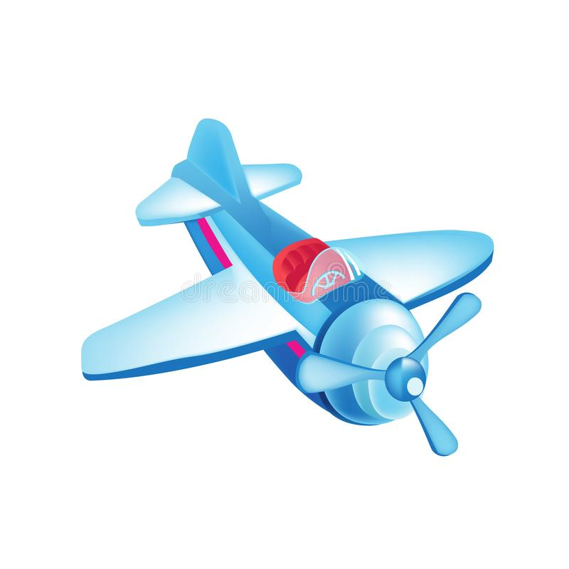 Colorful children toys. Beautiful flying in sky, airplane. Air vehicle. royalty free illustration