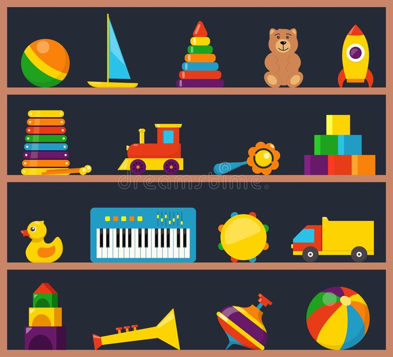 Colorful children toys on wooden shelves. Cubes, whirligig, duck, ball rattle, truck, pyramid, pipe, bear, ball, rocket, stock illustration