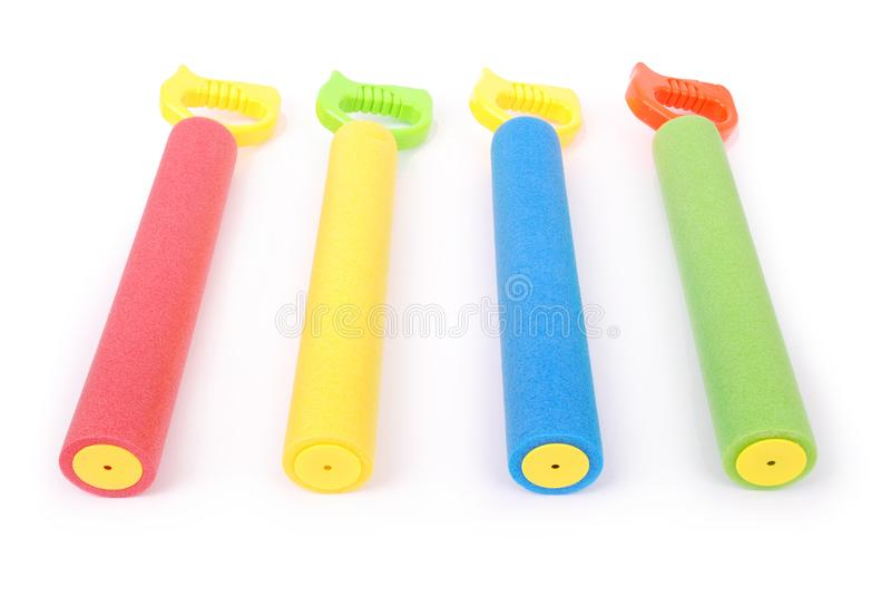 Colorful children water toys. On white background stock photography