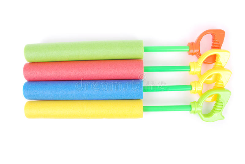 Colorful children water toys. Isolated on white background stock photo