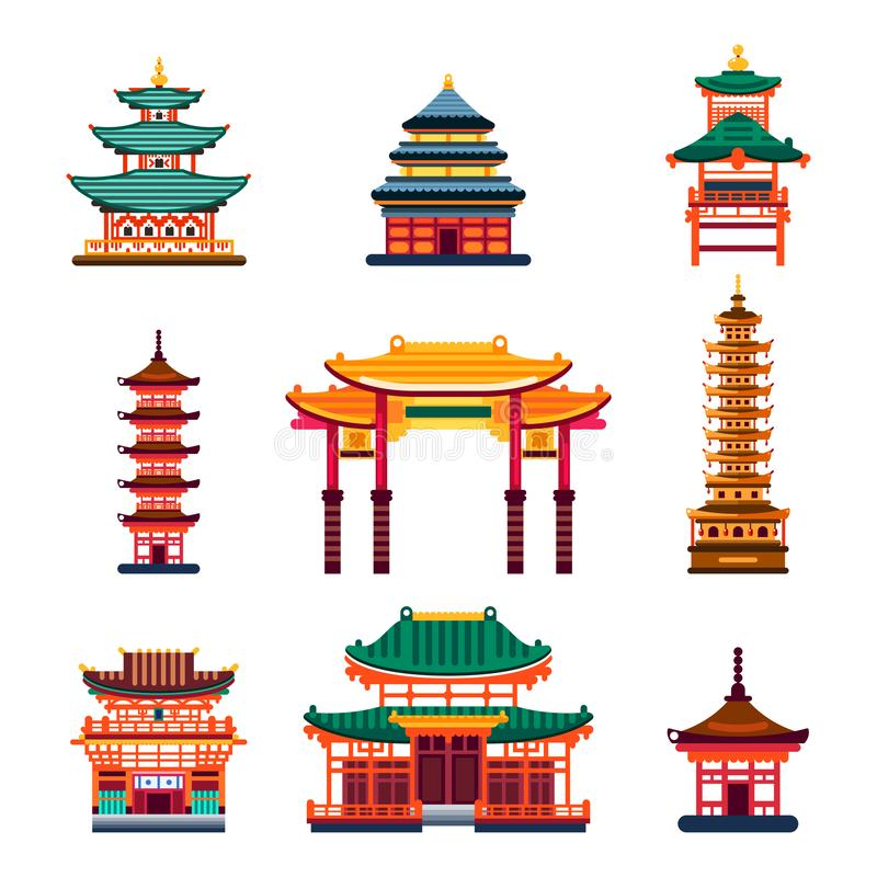 Colorful Chinese buildings, vector flat isolated illustration. China town traditional pagoda house. City architecture design elements vector illustration
