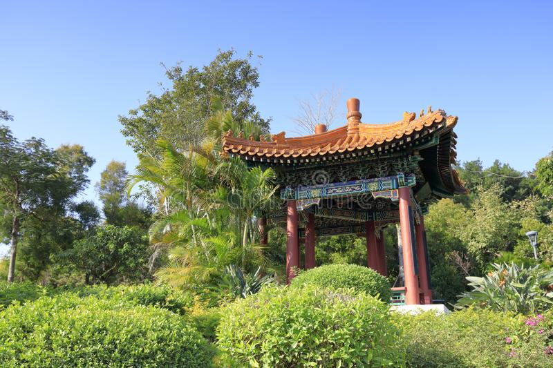 Colorful Chinese classical pavilion in yuanboyuan park, adobe rgb. Colorful Chinese classical pavilion on hill of the yuanboyuan park, xiamen city, fujian stock image