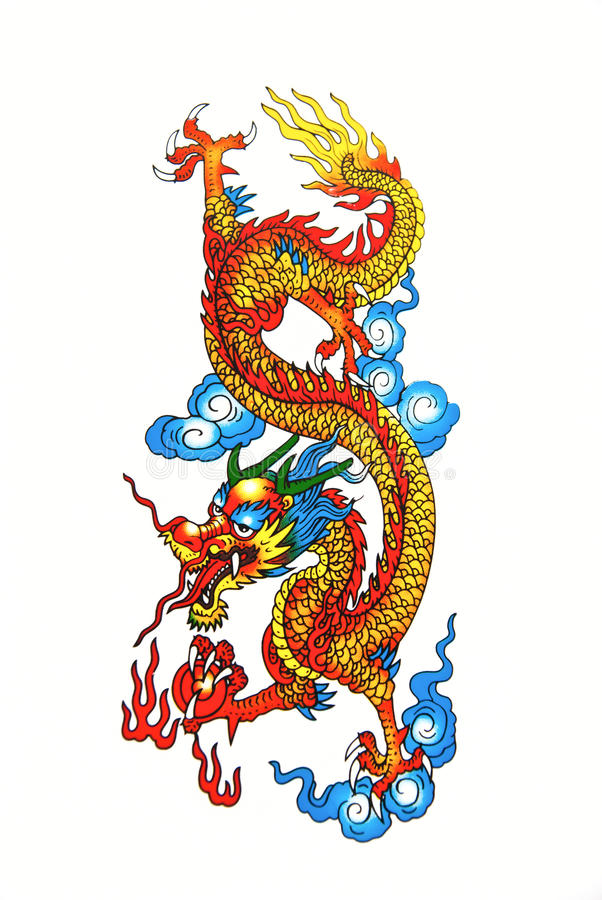 Colorful Chinese dragon. The native Chinese style isolated on white background stock image