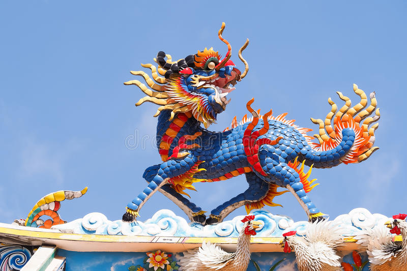 Colorful Chinese dragon-headed kirin royalty free stock images