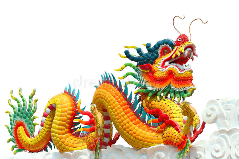 Colorful chinese dragon isolated. On white background royalty free stock photo