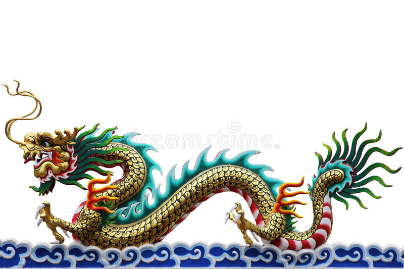 Colorful Chinese Dragon on white background stock photo