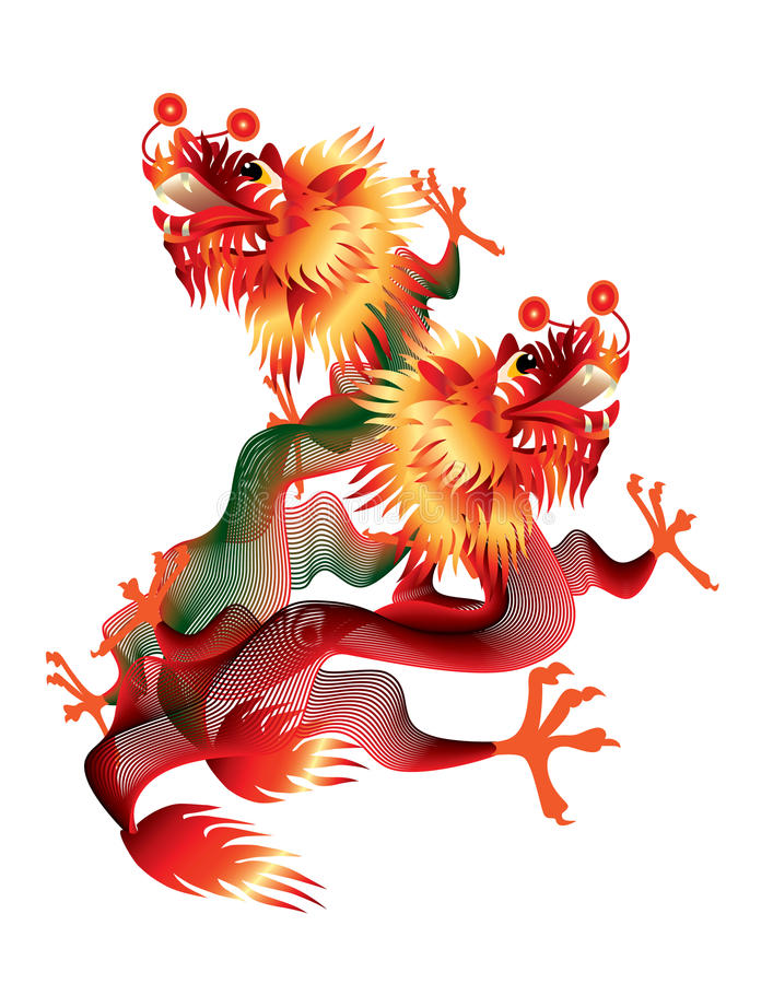 Colorful Chinese dragons on white background royalty free stock photography