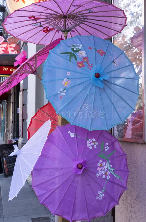 Colorful Chinese umbrellas stock images