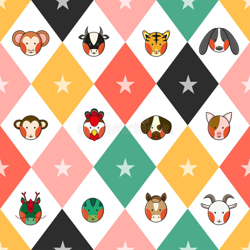 Colorful Chinese Zodiac 12 Animal Signs Chess Board Diamond Background vector illustration