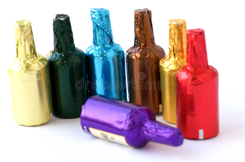 Colorful Chocolate Bottles Royalty Free Stock Photos