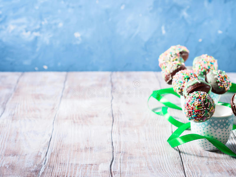 Download Colorful Chocolate Cake Pops In Cups. Copy Space Stock Photo - Image: 83721170