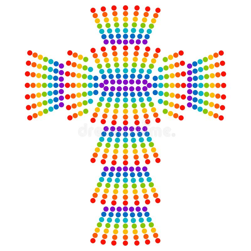 Colorful christian cross made of dots by rainbow colors stock illustration