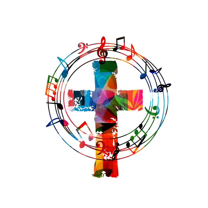 Free Colorful Christian Cross With Music Notes Isolated Vector Illustration. Religion Themed Background. Design For Gospel Church Music Royalty Free Stock Photos - 187285118