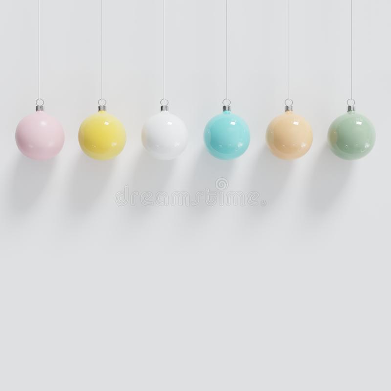 Colorful Christmas ball Ornaments hanging on white background stock illustration