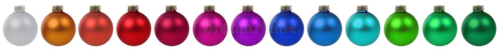 Colorful Christmas balls baubles decoration border in a row isol royalty free stock image