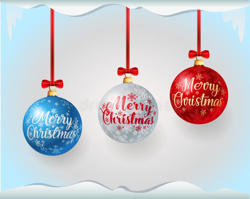 Colorful christmas balls with greeting text vector illustration