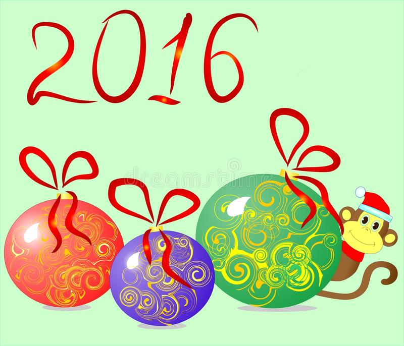 Colorful Christmas balls, monkey, 2016 and new year royalty free stock photography
