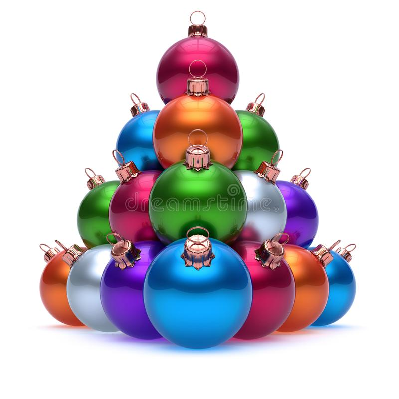 Colorful Christmas balls pyramid arranged. Happy New Year baubles royalty free illustration