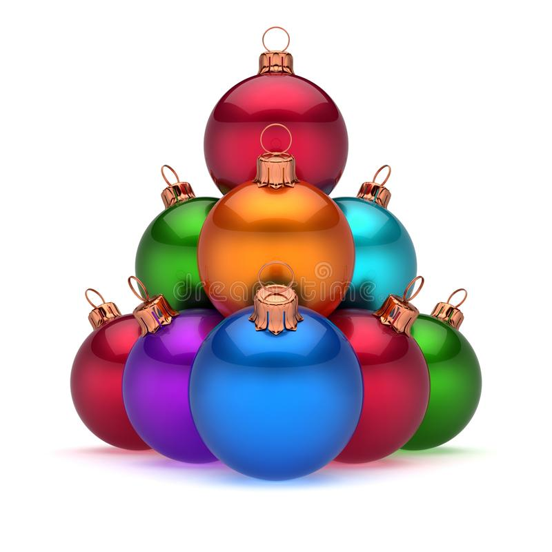 Colorful Christmas balls pyramid arranged shiny. Happy New Year baubles vector illustration