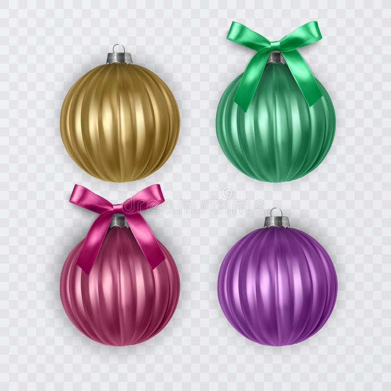 Colorful christmas balls with realistic bow on transparent background, vector christmas decorations stock illustration